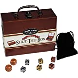 Shut the Box Circa Compact Wood Game _ with 6 Bonus 16mm (D6) Swirl Dice 2 Gold , 2 Silver , 2 Bronze