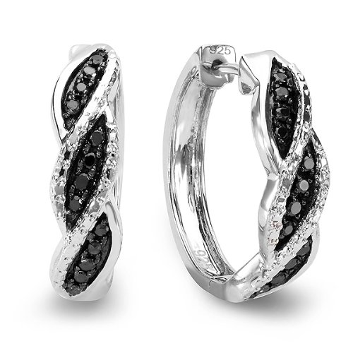 0.25 Carat (ctw) Sterling Silver Black Round Cut Diamond Huggie Hoop Earrings 1/4 CT