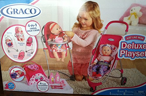 graco-11-pcs-just-like-mom-deluxe-playset-stroller-swing-high-chair-travel-bag-8-accessories