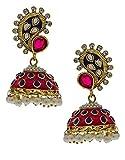 Anuradha Art Pink-Purple Combination Beautiful Jhumki Earrings For Women