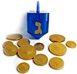 Chanukah Gelt Milk Chocolate Gold Coins and Hanukkah Dreidel Candy Container Bundle - Two Items: One Pack of Gold Coins and One Pack of Blue Dreidel Candy Holder