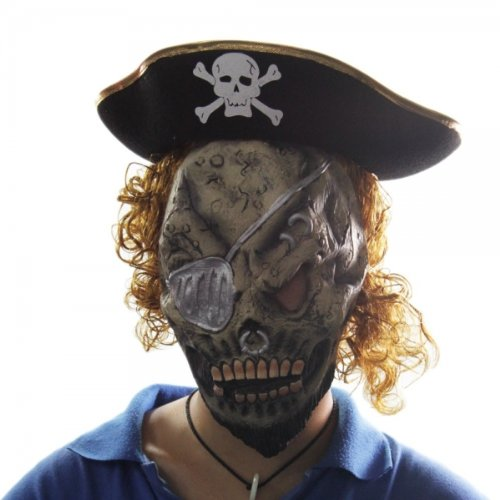 Pirate Hat Blond Hair Skeleton Mask Set Halloween Masquerade Accessories