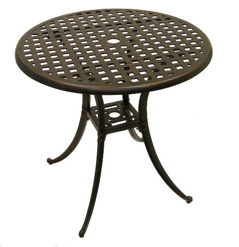 American Trading Company Weave Design Antique Bronze Solid Cast Aluminum Table, 30