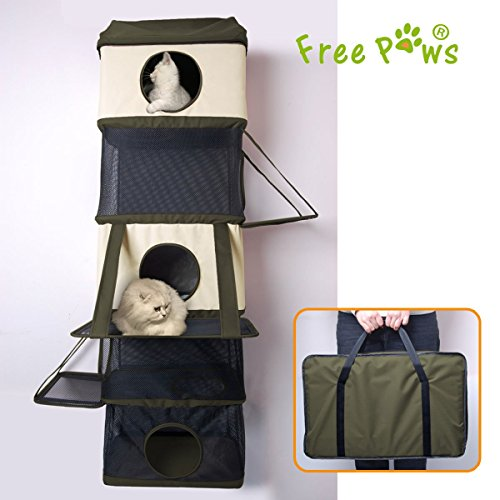 Free Paws 70LBS Weight Capacity Hangin Hunter Oxford Cat Condo, Large