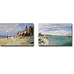 The Beach at Trouville & The Beach at Saint-Adresse by Claude Monet 2-pc Premium Gallery-Wrapped Canvas Giclee Art Set (Ready-to-Hang)