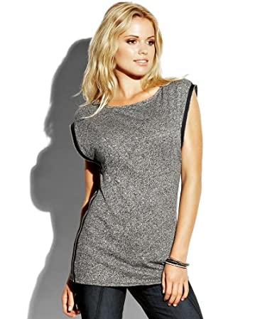 bebe Zip Trim Tunic :  top silver bebe