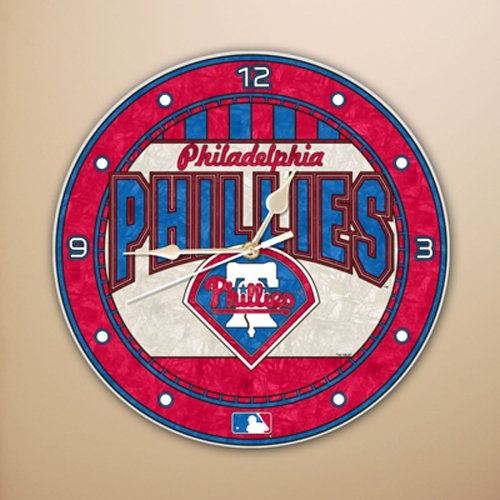 MLB Philadelphia Phillies 12-Inch Art Glass Clock at Amazon.com