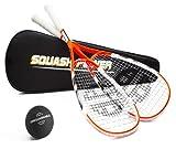 Unsquashable 2x CalBurn Squashschläger inkl. Squashball & Squashtasche ! 200g & DoubleString Techology ! Squashset