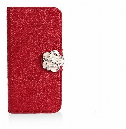 Luxury Crystal Rhinestone Camellia Leather Card Flip Card Holder Wallet Case Cover for Samsung Galaxy Motorola LG Mobile Cell Phone Samsung Galaxy S Blaze 4G SGH-T769 T-Mobile - red