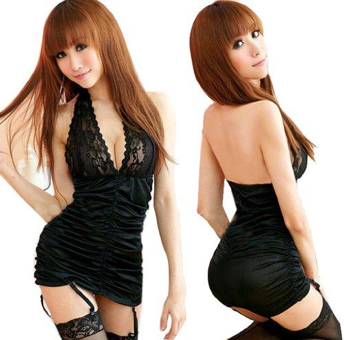 ANDI ROSE Sexy Lingerie Clubwear Mini Dress + G-Strings + Belts Black