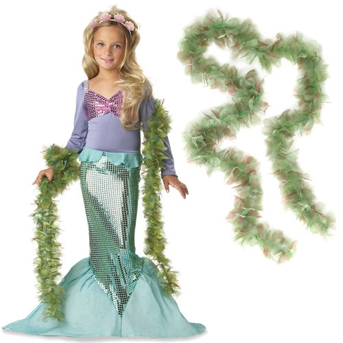 Little Mermaid Girl's Costume Small (6-8) with Seaweed Boa
