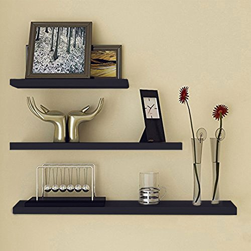 Ogori 3Pcs Mission Floating Wall Shelf Mountable Shelf with Invisible Bracket, Black
