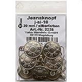 8 Jeans Knöpfe silberfarben 20 mm, Jeansknöpfe...