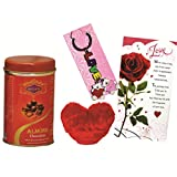 Skylofts Chocolate Coated Almonds Tin Box With A Cute Heart Soft Toy, A Love Card & A Love Key Ring