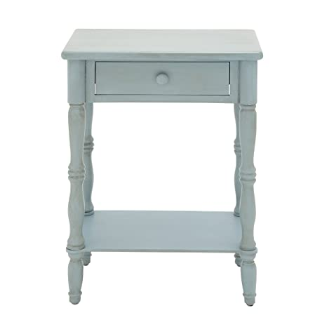"""Urban Designs Laurie 31"""" Weathered Wooden Nightstand with Drawer - Baby Blue"""