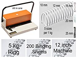 Spiral Binding Machine oddy 12 inch + Using Lose Spiral 5 kg pack With Transparent 400 sheets Pro Pack Saving Deal