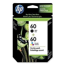 HP 60 Ink Cartridges, 200 Pg Yld Black,165 Pg Yld Color,2/PK