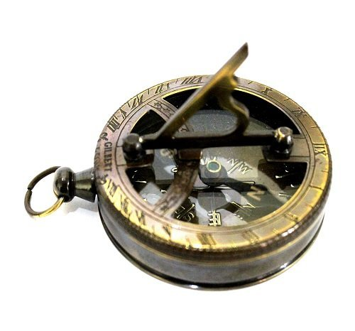 Nautical Gilbert Antique Style Pocket Compass Brass Finish 0