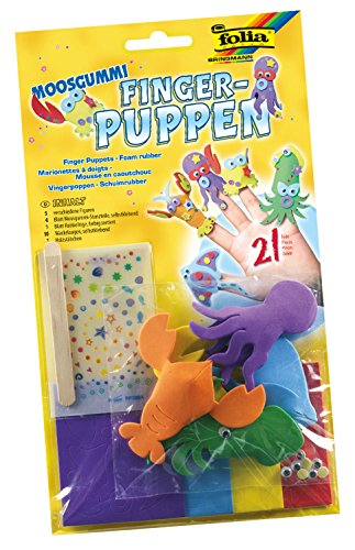 Folia 2363 - Moosgummi Fingerpuppen Unterwassertiere, 5 verschiedene Figuren mit Zubehör, bunt