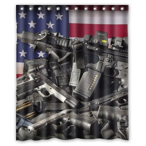 Nice Weapons Rifle Guns Ammo Background Waterproof Shower Curtain/Bath Decor--Size: 60