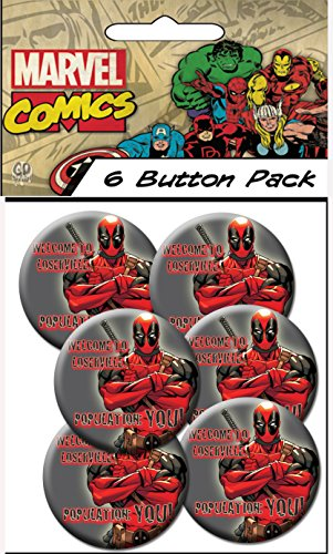 "C&D Visionary Marvel Extreme Classic Deadpool Population 1.25"" Button (6-Piece)"