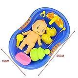 Casa de Muñeca en Miniatura Bañera Baño Plástico Niños Azul