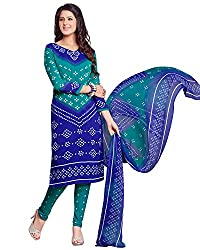Drapes Women's Crepe Printed Dress material Unstitiched(Blue)