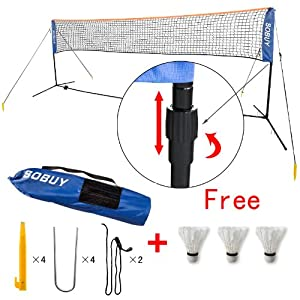 Höhenverstellbar! Federballnetz, Badmintonnetz,Tennisnetz mit Gestänge u.Befestigung,mit 3 Federball als Gratis SFN03 (5 Meter)