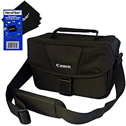 Canon Well Padded Compact Multi Compartment SLR Digital Camera Gadget Bag with Adjustable Shoulder Strap + HeroFiber Ultra Gentle Cleaning Cloth for Canon EOS 7D, 60D, 60Da, 70D, EOS Rebel SL1, T1i, T2i, T3, T3i, T4i, T5, T