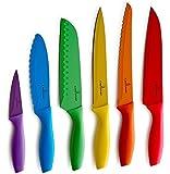 Culina 6 Cuchillos de Color, Recubrimiento Antiadherente. Acero Inoxidable
