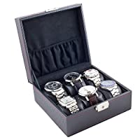 Carbon Fiber Pattern Black Watch Case Display Storage Box With Red Stitching Holds 6 Watches With Soft Adjustable Pillows