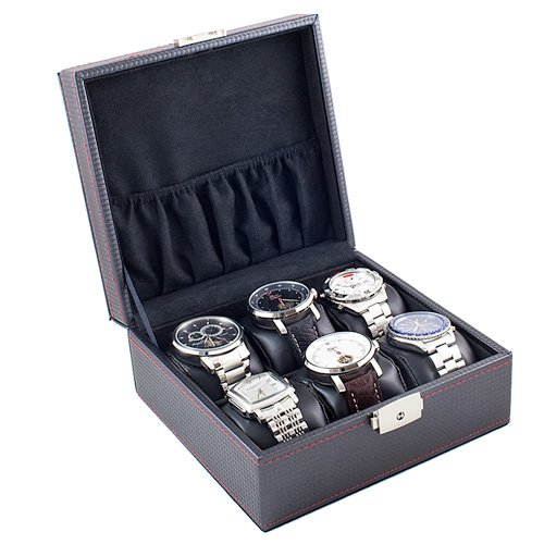 Caddy Bay Collection Carbon Fiber Pattern Black Watch Case Display Storage Box With Red Stitching Holds 6 Watches With Soft Adjustable Pillows
