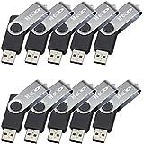 MECO(TM) 10Pcs 1GB 1G USB 2.0 Flash Drive Memory Stick Fold Storage Thumb Stick Pen Swivel Design Black