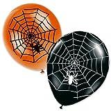 Toy - 8 Halloween Luftballons Spinnweben schwarz orange
