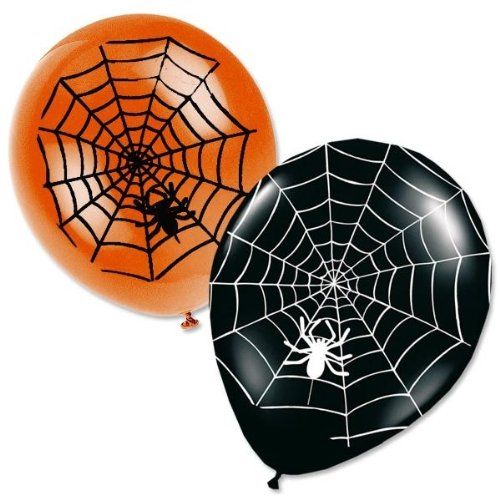 8 Halloween Luftballons Spinnweben schwarz orange
