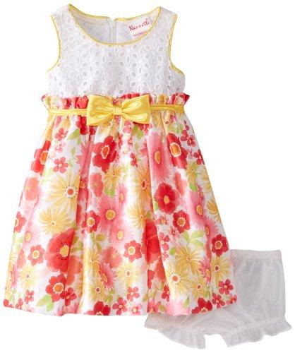 Nannette Baby-Girls Newborn 2 Pieced Floral Dress Set, White, 3-6 Months