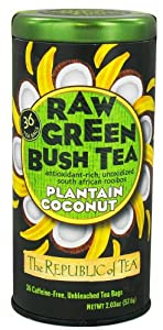 The Republic of Tea, Raw Green Bush Tea Plantain Coconut, 36-Count