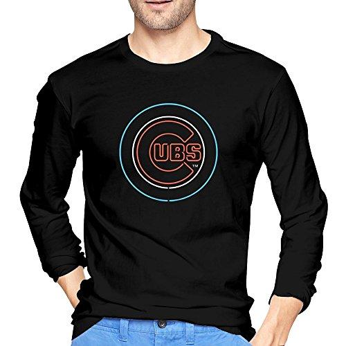 Men's Chicago Cubs Logo Line T-shirts Black Long-Sleeve