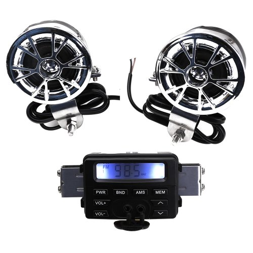 New 12V Waterproof Atv Motorcycle Motorbike Scooter Audio System Handlebar Fm Mp3 Stereo Speaker Audio Sound System Aux Input 2 Speaker For Cruiser Biker Chopper Cafe Racer Atv