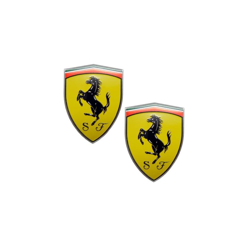 2 X Ferrari Real Aluminum Rare Car Logo Badge Emblems (Pair/Set) for 512 308 458 599 328 GTS GTO GTB M Dino 612 F430 360 550 355 F1 Spyder Mondial TS Modena F1 Scuderia Spider Challenge Testarossa