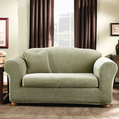 Sure Fit Stretch Stripe 2 Piece Loveseat Slipcover Sage Sf37633 Food Beverages Tobacco