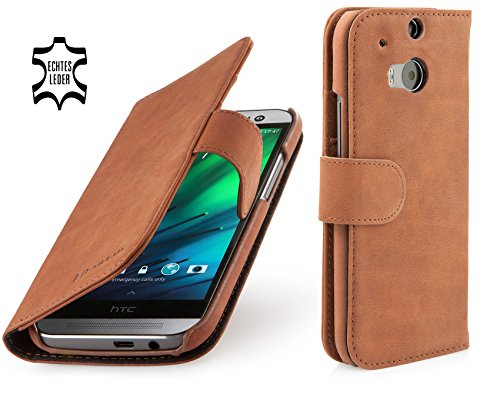 "StilGut ""Talis"" Wallet, Genuine Leather Case for HTC One M8 in Book Style, Cognac Vintage with Clip"