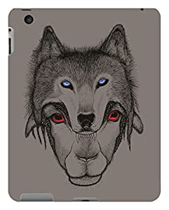 Koveru Designer Printed Protective Snap-On Durable Plastic Back Shell Case Cover for Apple iPad 2 - Mask of Wolf