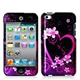 Purple Love Design Hard Snap-on Crystal Skin Case Cover Accessory for Apple Ipod Touch 4th Generation 4g 4 New by ElectroMaster ~ Generic
