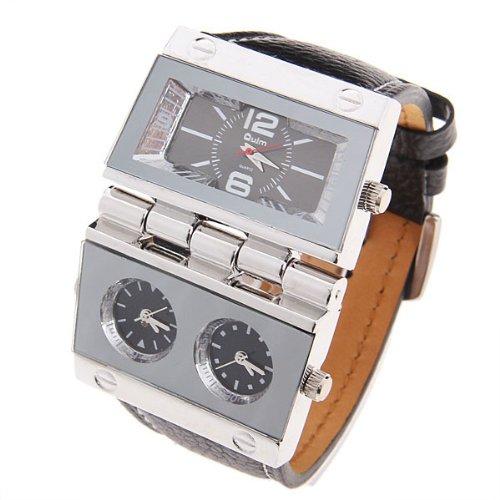 25 Black Oversize Military Army Analog Quartz Dial Men Dual Time Zone Wrist Sport Watches