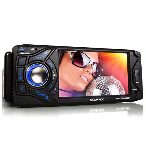 XOMAX-XM-VRSU4309BT-Autoradio-mit-Bluetooth-Freisprechfunktion-11-cm-43-Zoll-Touchscreen-Display-USB-Anschluss-SD-Kartenslot-AUX-IN-Singel-DIn-1-DIN-Standard-Einbaugre-inkl-Fernbedienung-Einbaurahmen