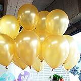 TOOGOO(R) 100pcs 10 inch Pearl Latex Balloon Celebration Party Wedding Birthday (Gold)