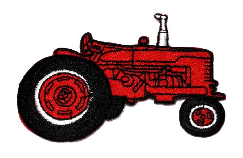 Farm Tractor Red Diy Applique Embroidered Sew Iron On Patch Tt-003