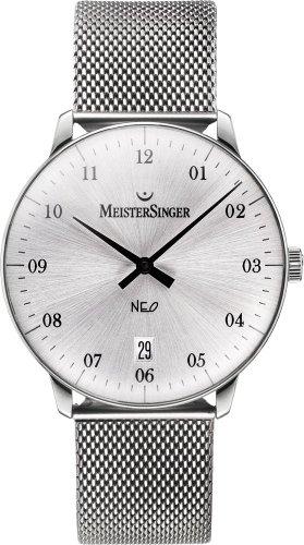 MeisterSinger Neo 2Z NE201 - Reloj analógico automático unisex, correa de cuero color negro