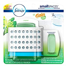 6 x Febreze smallSPACES Starter Kit and Refills Value Pack, Gain Original 0.36 oz (11 ml)